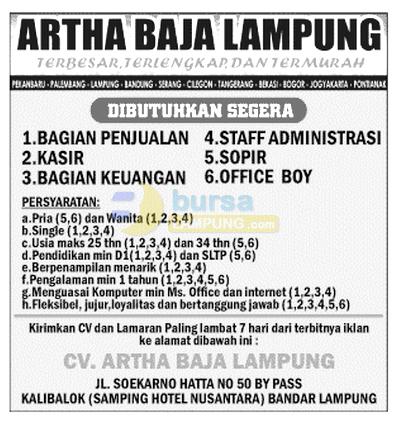 Penerimaan Karyawan Baru di Artha Baja Lampung, selasa 15 oktober 2014