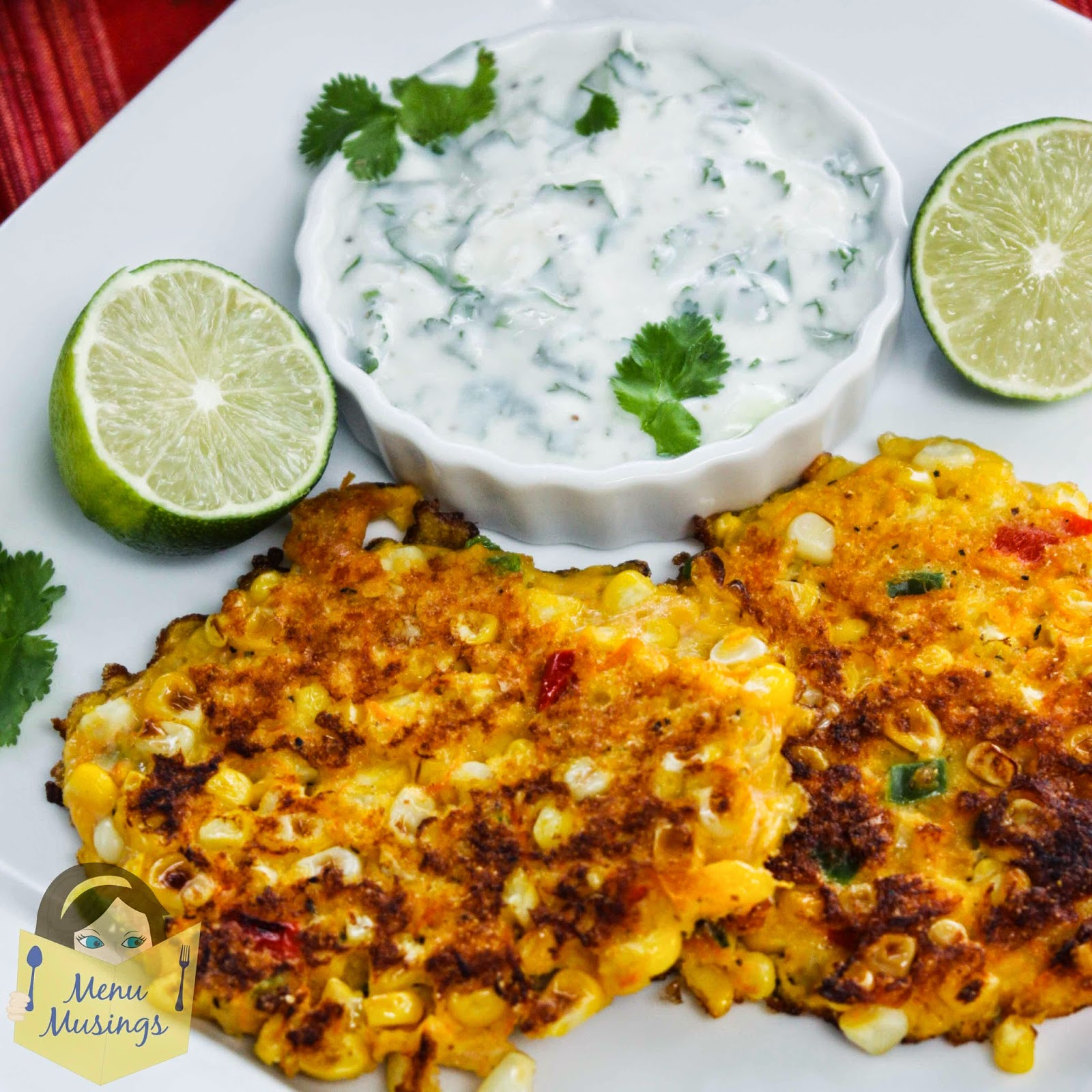 Corn cakes with Cilantro Lime Cream @ menumusings.com