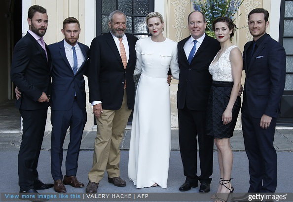 US actors Jesse Lee Soffer, Brian Geraghty, US producer Dick Wolf, Princess Charlene and Prince Albert II of Monaco, US actress Marina Squerciati and US actor Patrick Flueger pose in Monaco Palace during the 55th Monte-Carlo Television Festival on June 17, 2015, in Monaco.