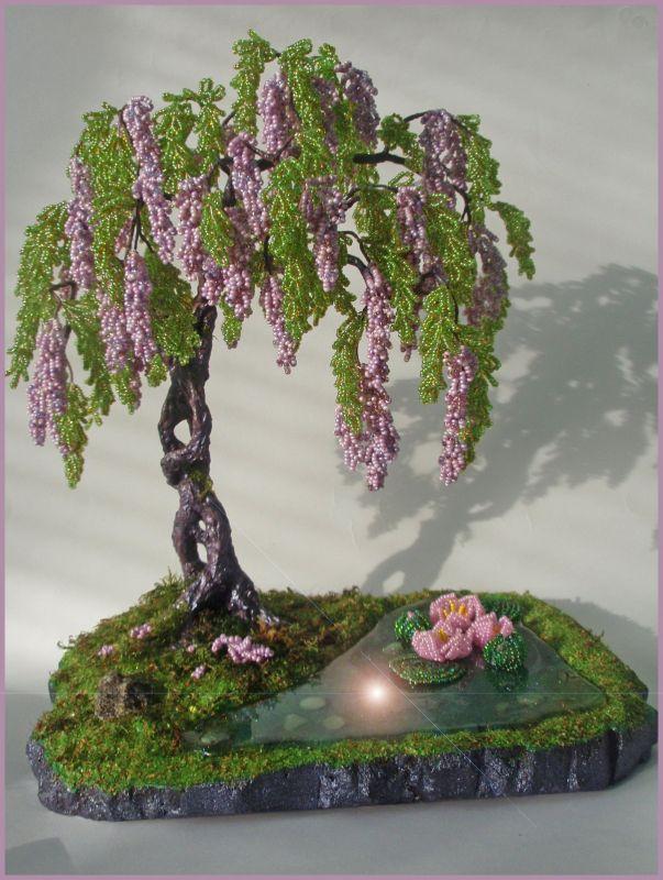 Дерево из бисера глициния мастер