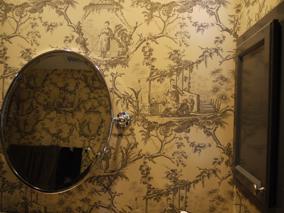 The Best Bathroom Wall Paper I Have Ever Seen With A Matching Shower Curtain