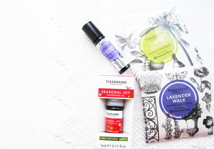 Tisserand: Seasonal Joy Vaporising Oil, Lavender Walk Perfume Roll On & Scented Linen Sachets