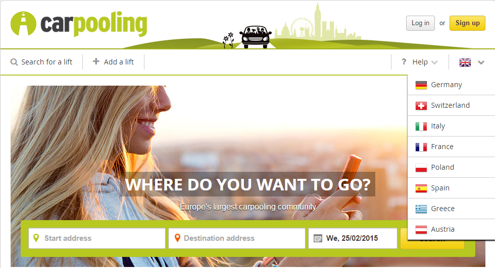 Sites de pegar carona na Europa - Carpooling
