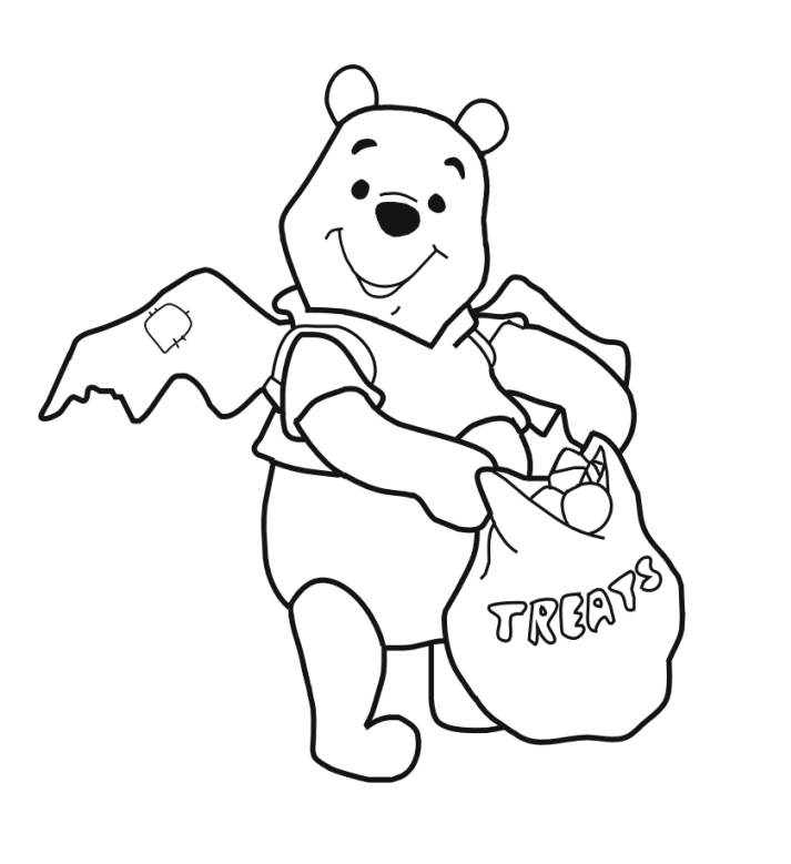 the pooh halloween coloring pages - photo#1
