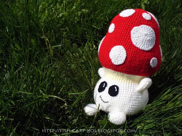 """Мухомор 1up - Гриб из игры """"Super Mario Bros."""" связанный крючком"""
