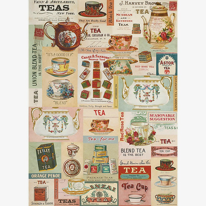 antiques and teacups tea themed wrapping paper