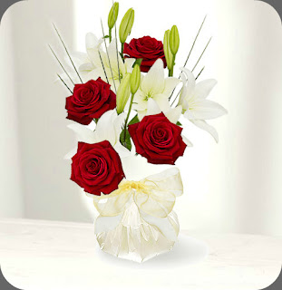 red rose lily hand tied bouquet