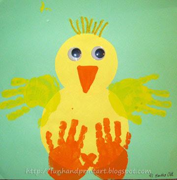 Handprint Easter chick craft, Easter crafts, crafts