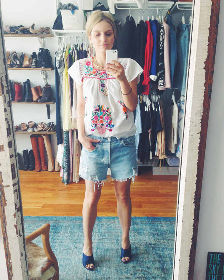 Selfie, bedroom, walk-in closet, wardrobe, mexican embroidered tunic top dress, gold metal choker, Nina Ricci satin mules, high heel slides, distressed denim cutoffs