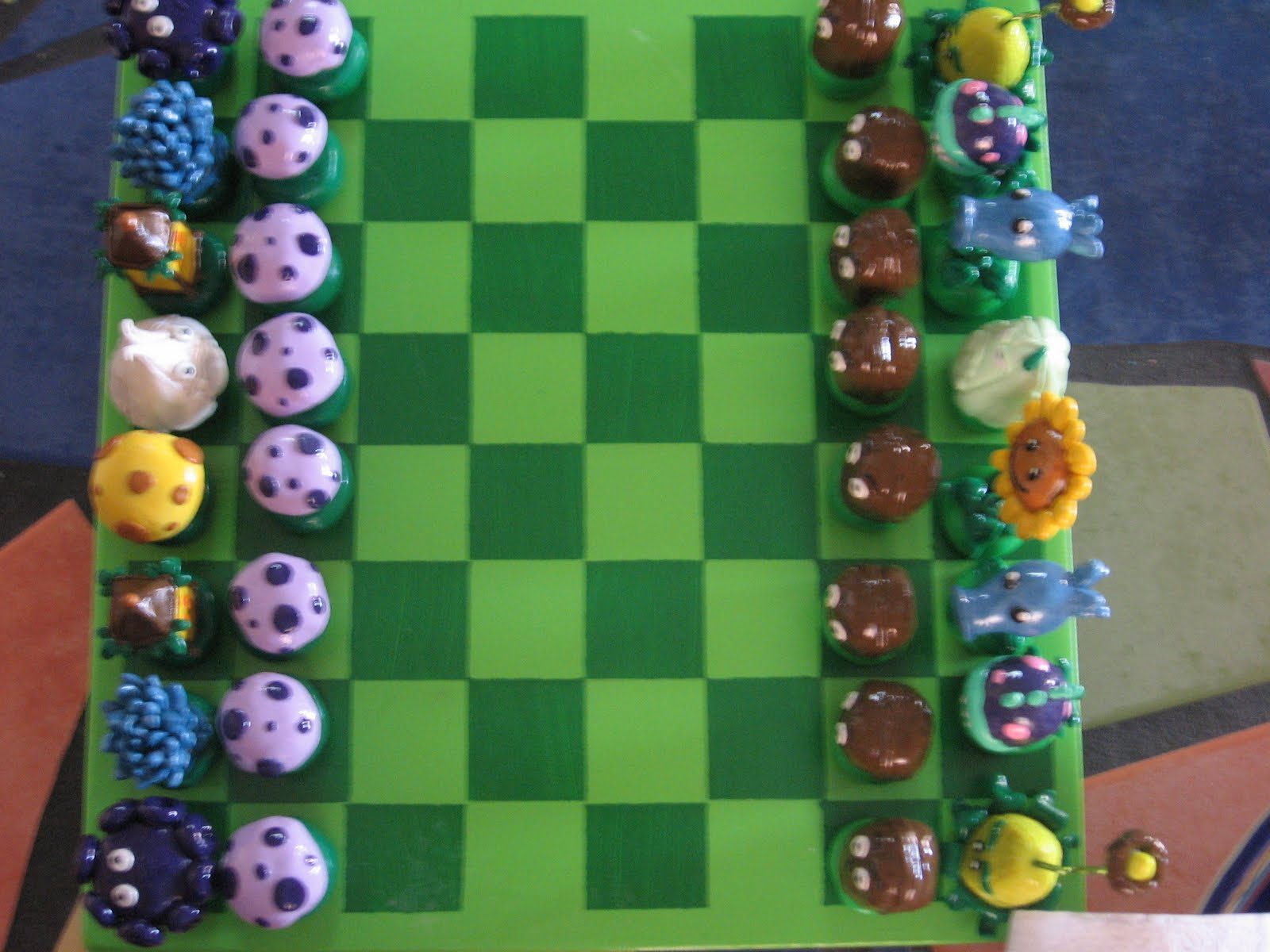This is a chessboard themed after the online game plants vs zombies