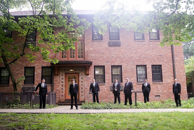 photo of groom and groomsmen outside the Turkey Run State Park Inn