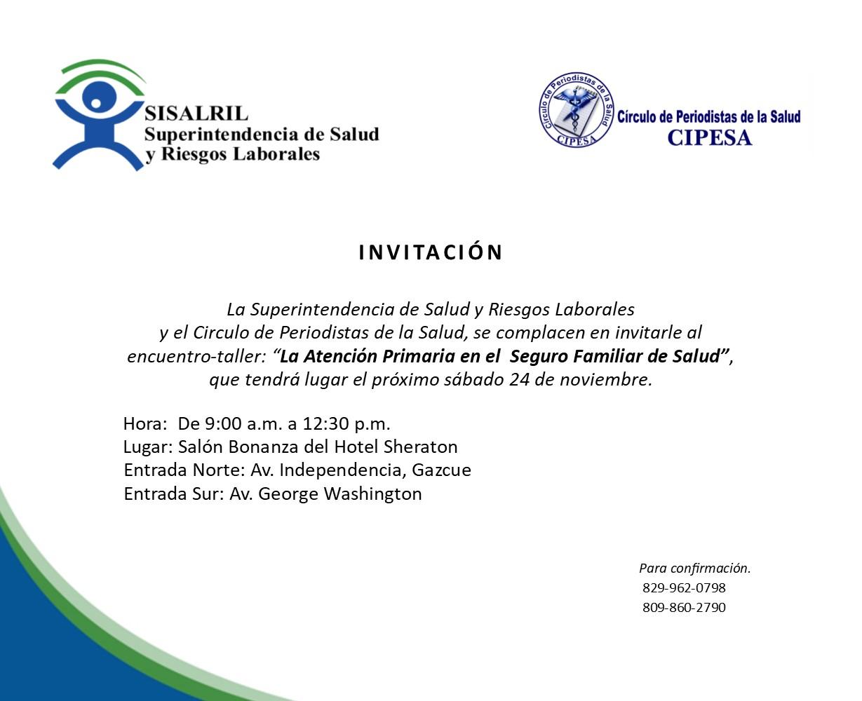 """CIPESA y la SiSALRIL invita al taller """"La Atención Primaria en el Seguro Familiar de Salud"""