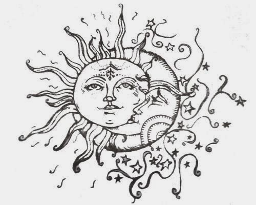 Moon and sun tattoo stencil
