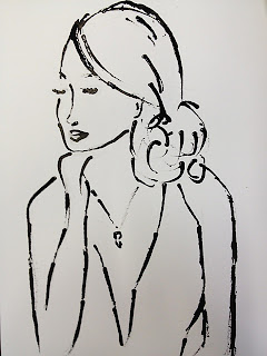 portret met rietpen en oost-indische inkt