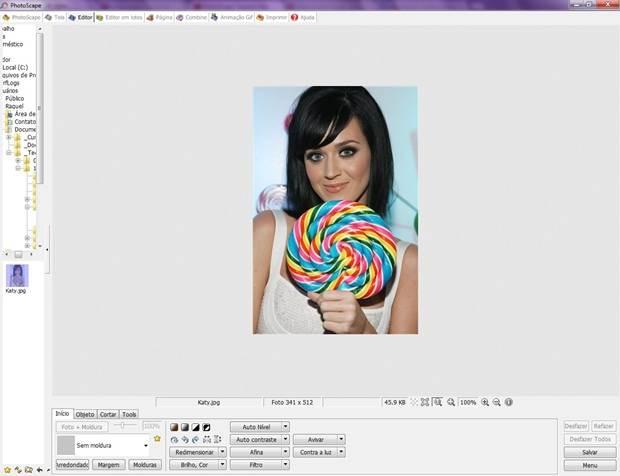 Abraindo a imagem no editor de imagens Photoscape