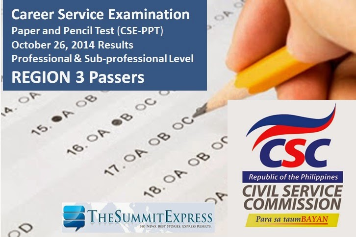 October 2014 Civil service exam (CSE-PPT) results Region 3 List of Passers