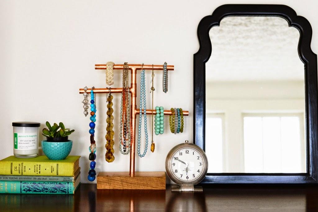 Diy cooper pipe jewelry stand d coration de la maison for Copper pipe jewelry stand