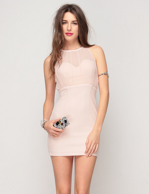 Chiffon Halter Bodycon Dress