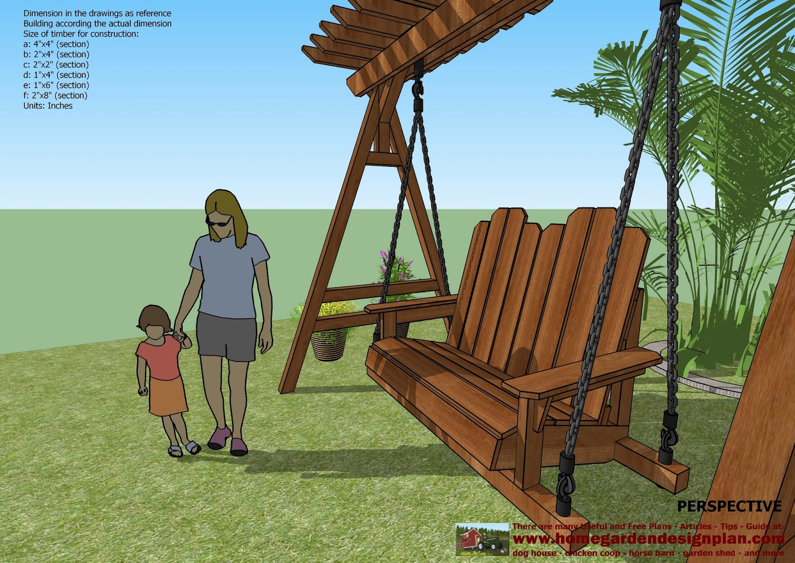 home garden plans SW101 Arbor Swing Plans Construction