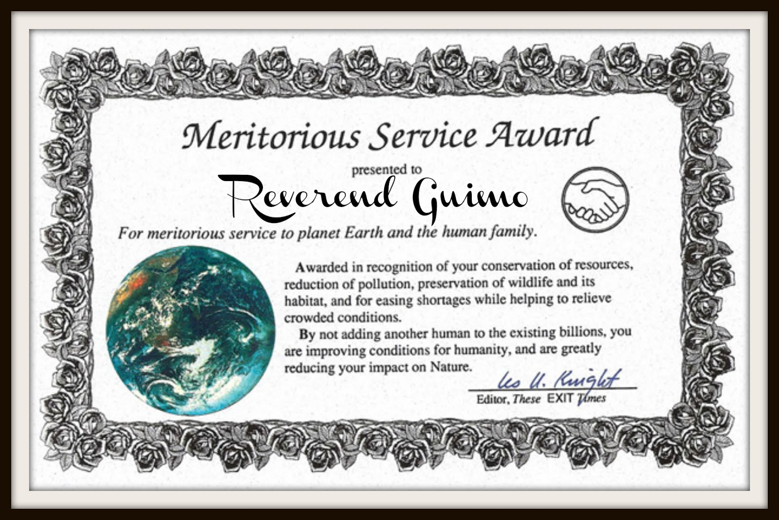 I am a Meritorious Service Award Recipient