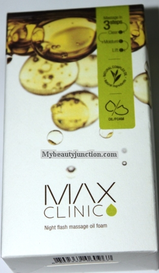 Max Clinic Night Flash Massage Oil Foam cleanser review, usage, photos