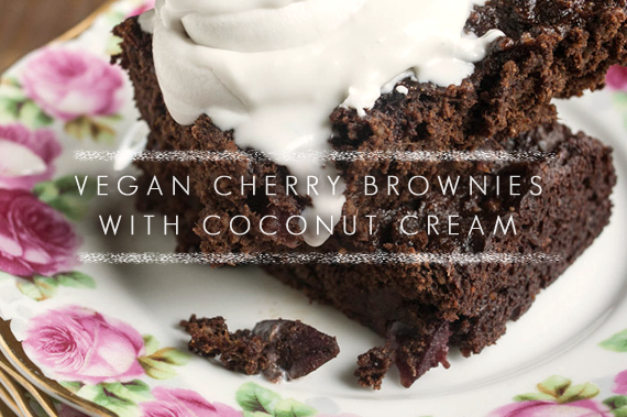 Vegan Cherry Brownies with Coconut Cream // Bubby and Bean