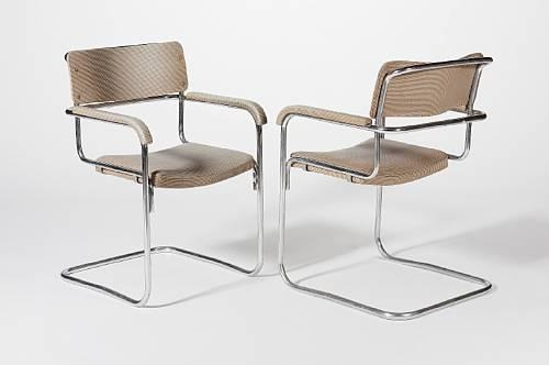 the chrome plated steel cantilever frames with laminated plywood back rests and seats Creation Date: designed 1929