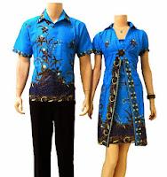 Model Baju Batik Motif Bunga Warna Biru
