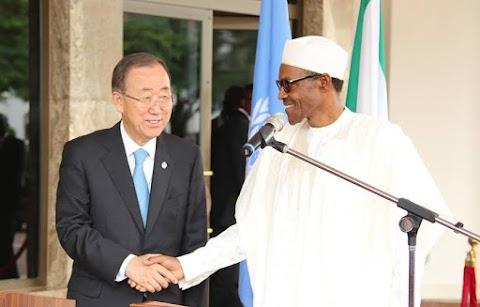 President Buhari welcomes UN Secretary General Banki Moon.