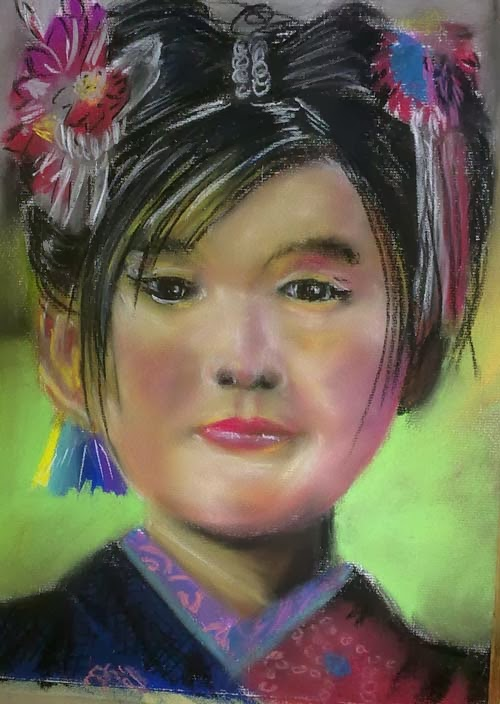 retrato de asiatica con pastel