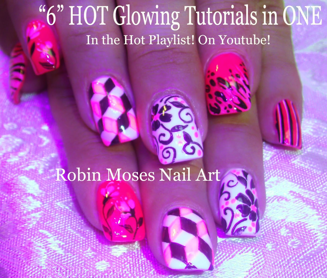 Nail Art By Robin Moses Hot Nails Nail Art Neon Nail Art