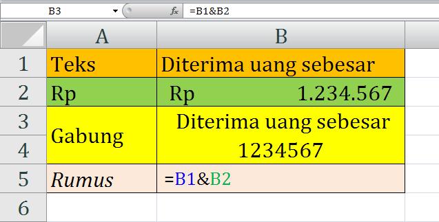menggabungkan teks dan format rp