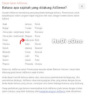 Google Adsense Sudah Support Bahasa Indonesia