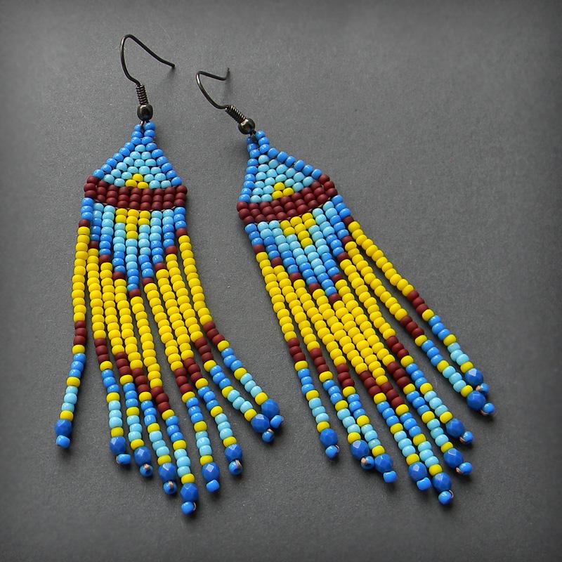 купить украшение в этническом стиле желтые голубые серьги