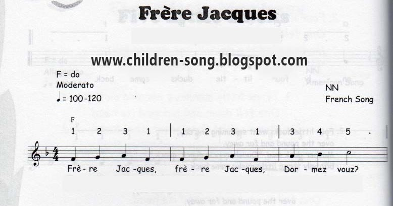 Frre Jacques With Notes And Chords