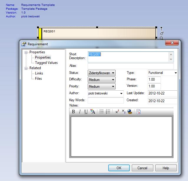 szablon elementu - Package Template - zmiana domyślnego statusu