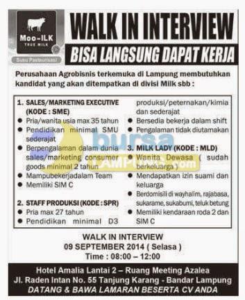 Lowongan Kerja MOO-ILK True Milk, 6 September 2014 Radar Lampung