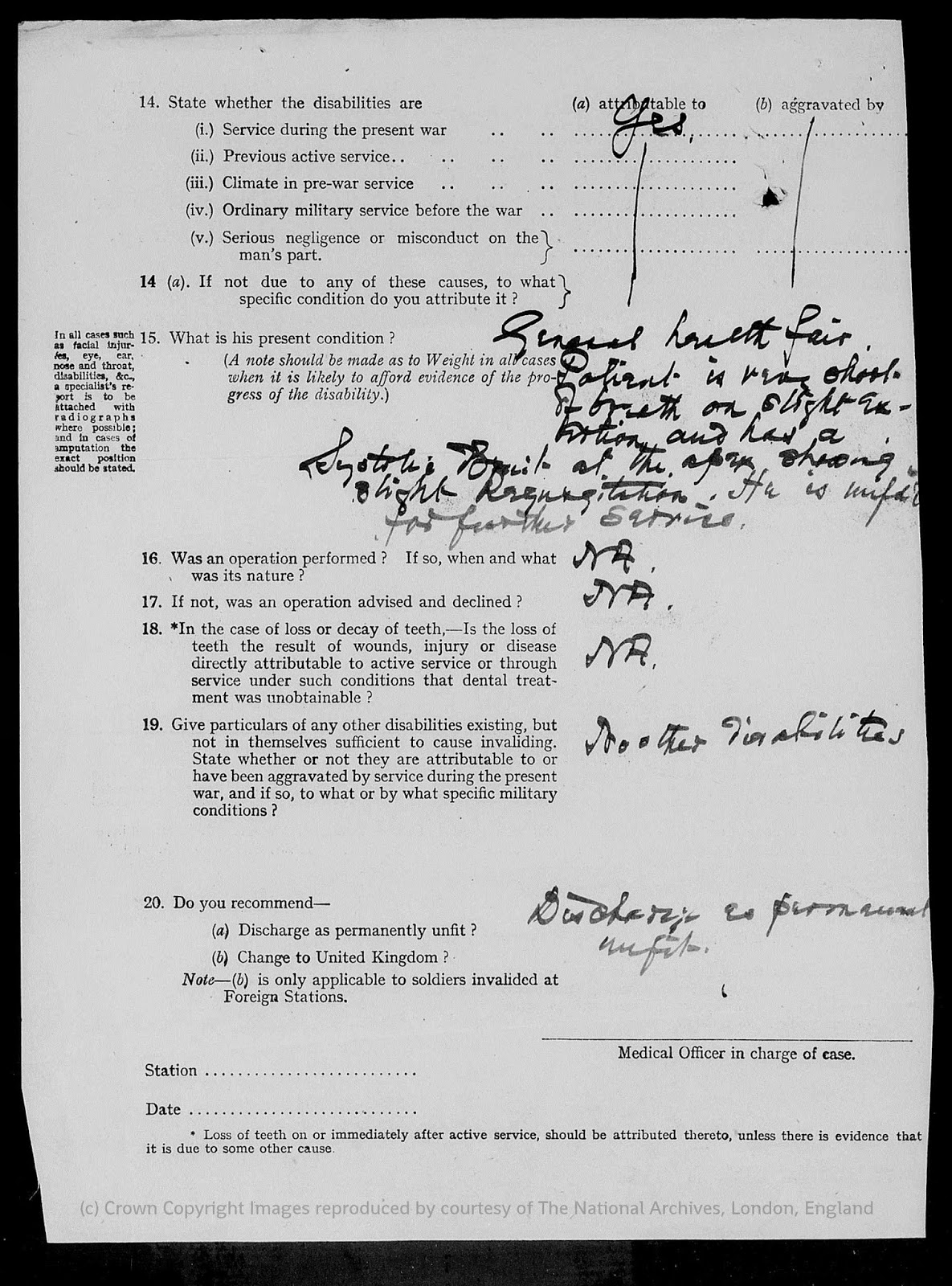 Army Form B.179a Medical Report on a soldier - Page 2
