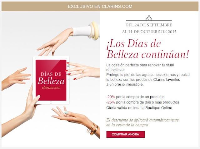 Promoción: Días de Belleza en Clarins.com (hasta 25% de descuento)