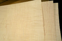 Close Up of Three Sheets High Figure Curly Maple Veneer