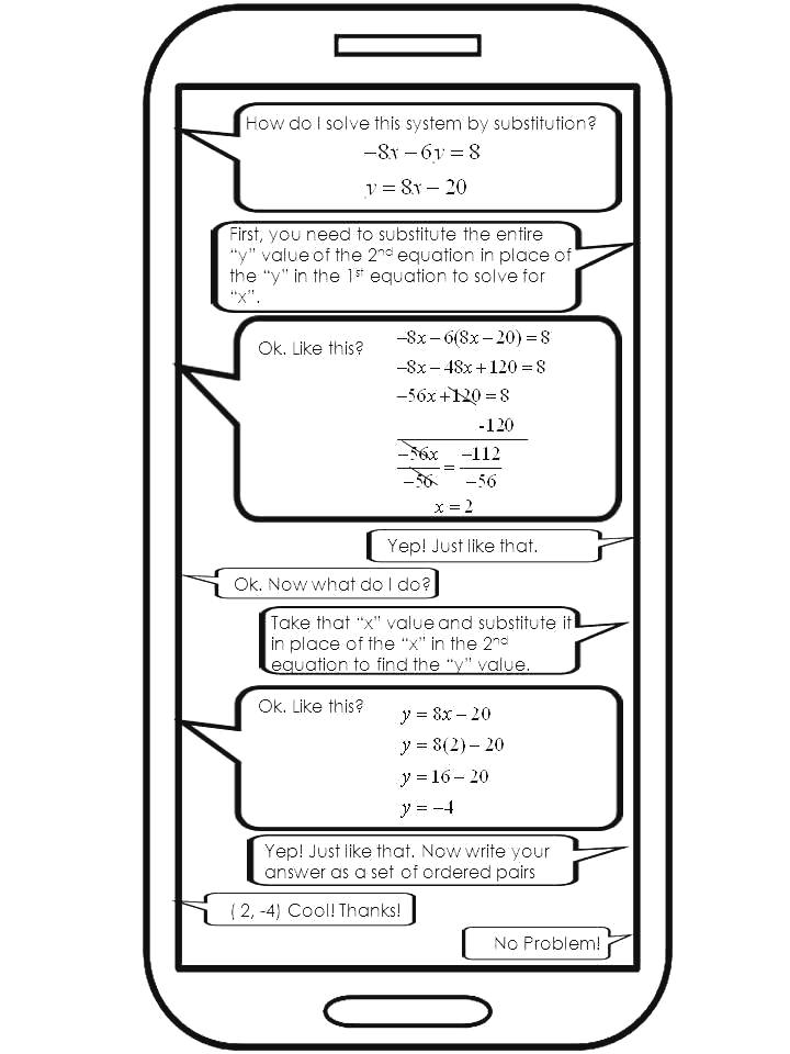 The Math Magazine Systems of Equations Substitution Worksheet – Substitution Method Worksheet