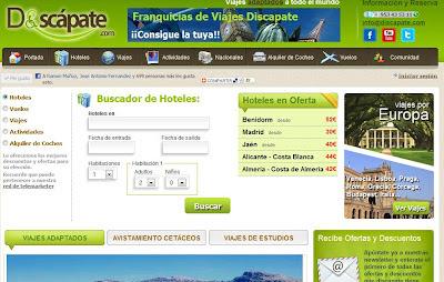 Vista de la web de la empresa Discápate especializada en venta de paquetes adaptados a personas con discapacidad