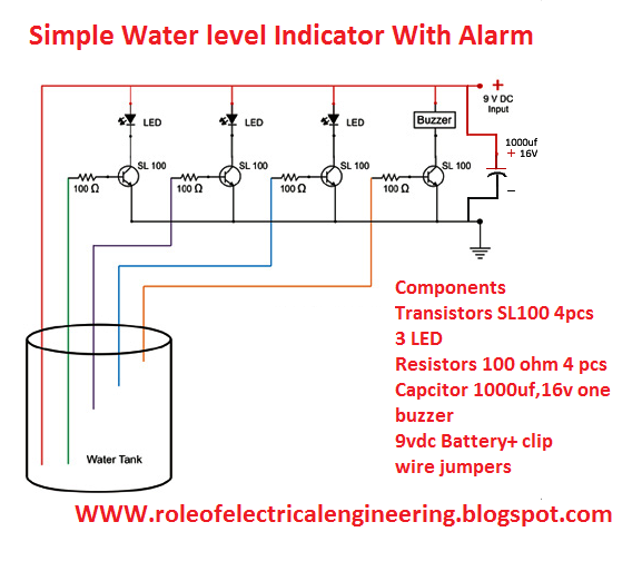 Electrical Engineering World  Water Level Indicator With Alarm System