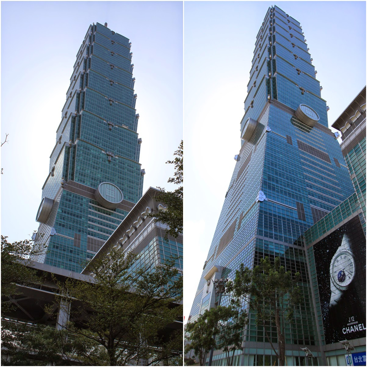 The side view of Taipei 101 of different distance in Taiwan