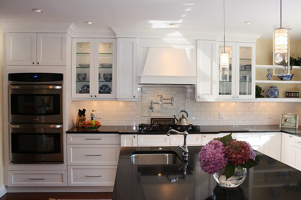 White Kitchen With Dark Wood Floors Wood Floors