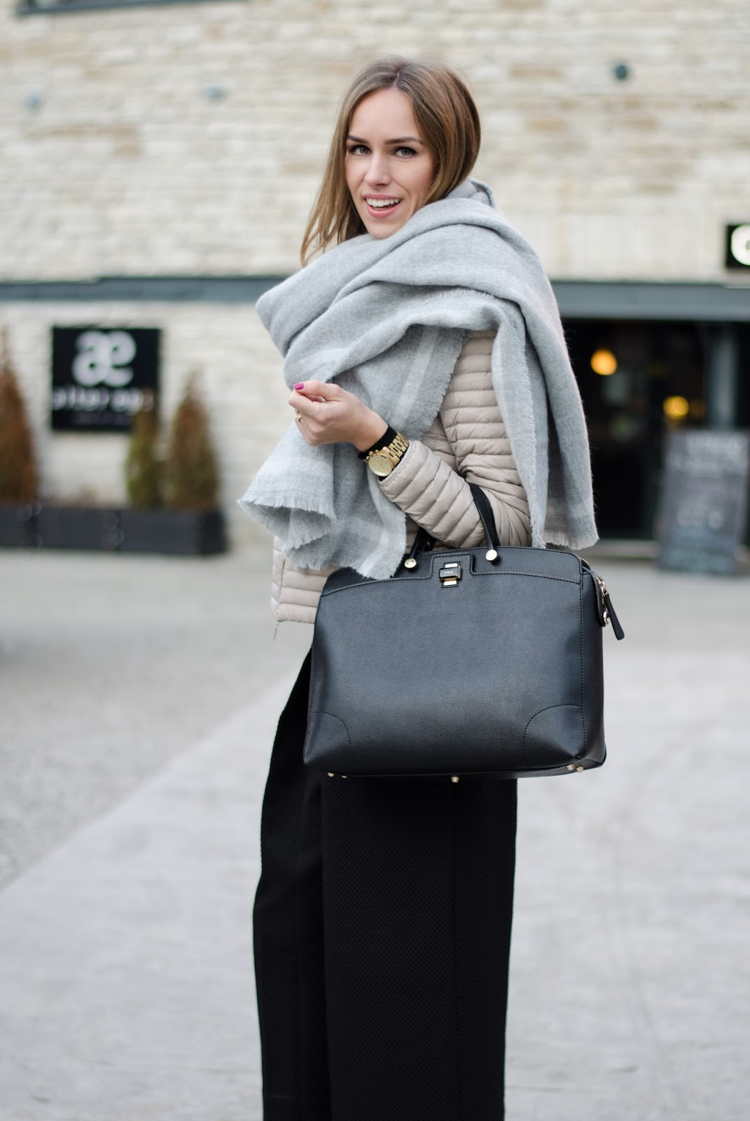 kristjaana mere big gray zara scarf black furla bag winter style