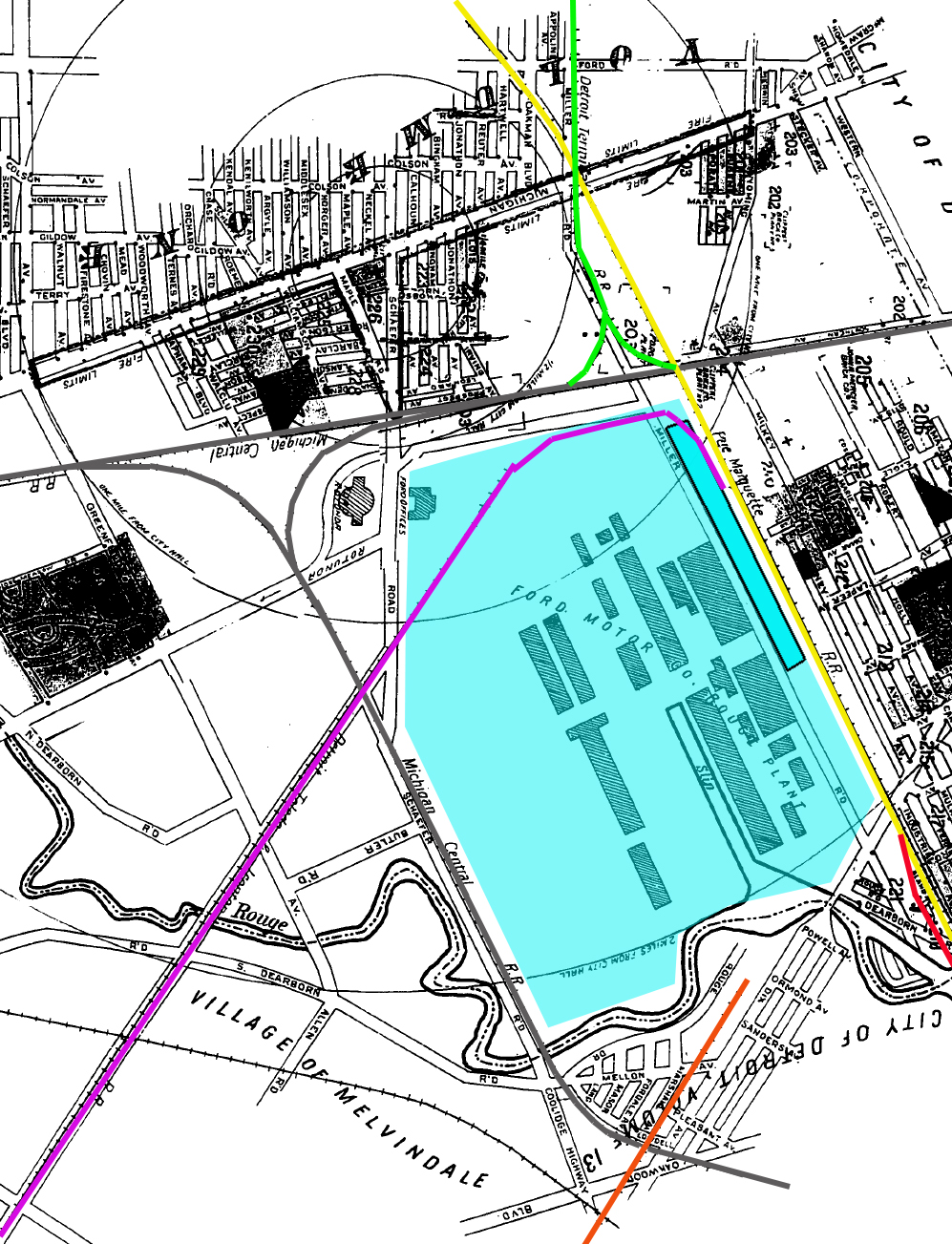 i ve highlighted the ford plant in blue and the darker blue with the black rectangular border is the location of the shipping side of the plant at least