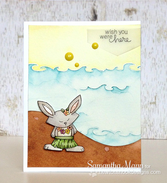 Hula Bunny Beach Card by Samantha Mann for Newton's Nook Designs - Inky Paws Beach Challenge