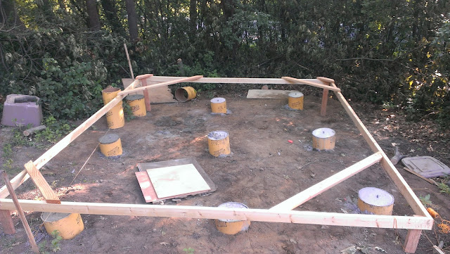 Finally finished pouring the footings. The leftover mockup of the sauna is now only there to protect from my kids getting in to the wet cement :)