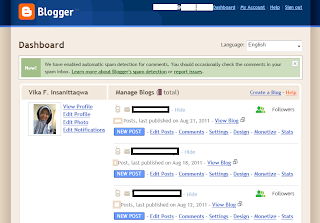 Blogger.com dashboard